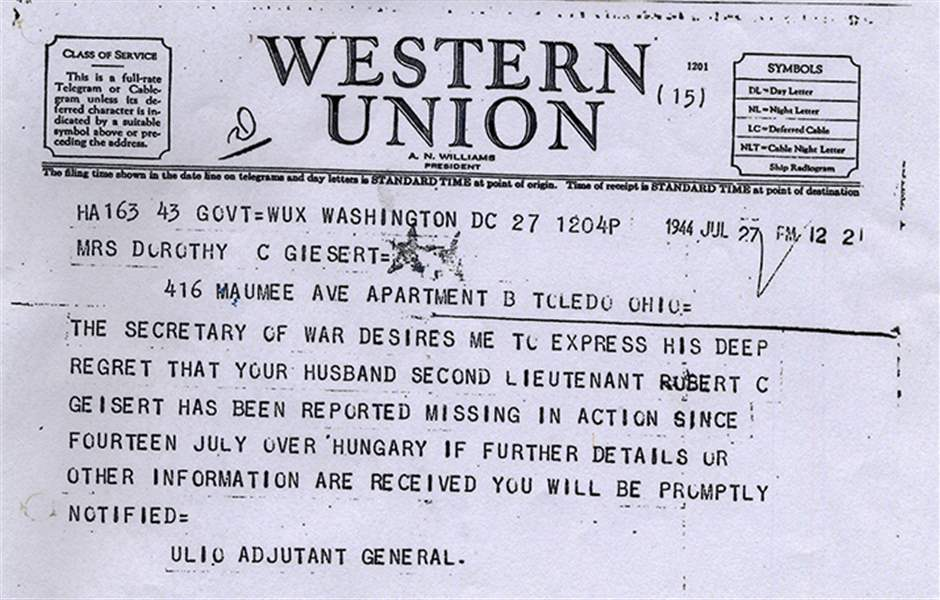 Western Union Budapest Koki : Dorothy Gesiert received this Western Union Telegram informing her