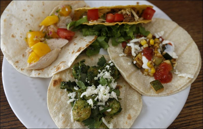 ... tacos; Charred corn and zucchini tacos; Chipotle pork tacos; and